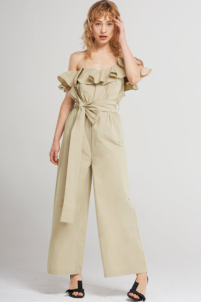 Jemina Frilled Shoulder Romper-Beige
