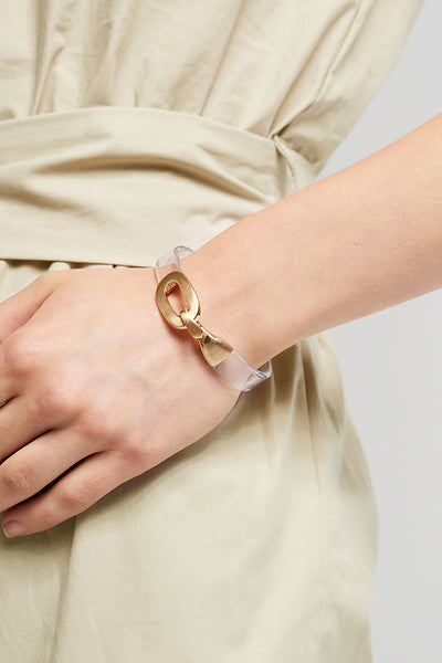 Gold Hook Bracelet-Clear