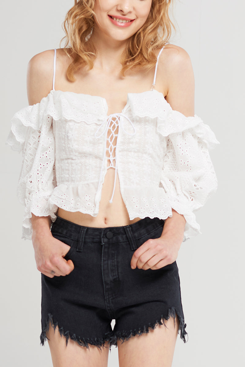 Illy Lace Up Summer Top-White
