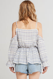 Ari Horizontal Stripe Strap Blouse-Skyblue
