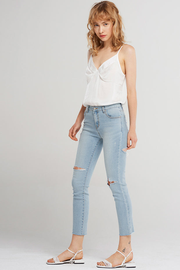 Abby Knee Rip Denim Jeans-Skyblue