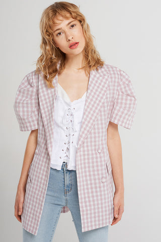Lilith Gingham Short-sleeve Jacket-Pink