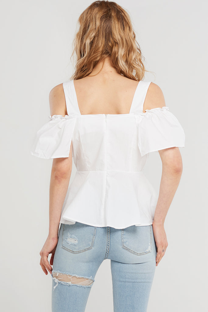 Frida Buckle Strap Blouse-White