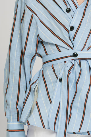 Cecil Placket Detail Shirt-Skyblue