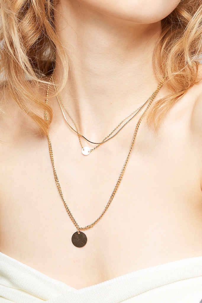 Layered Medal Necklace-Gold