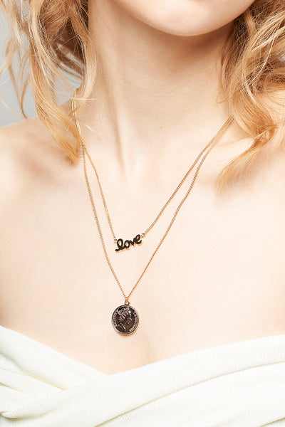 Lettering Coin Necklace-Gold