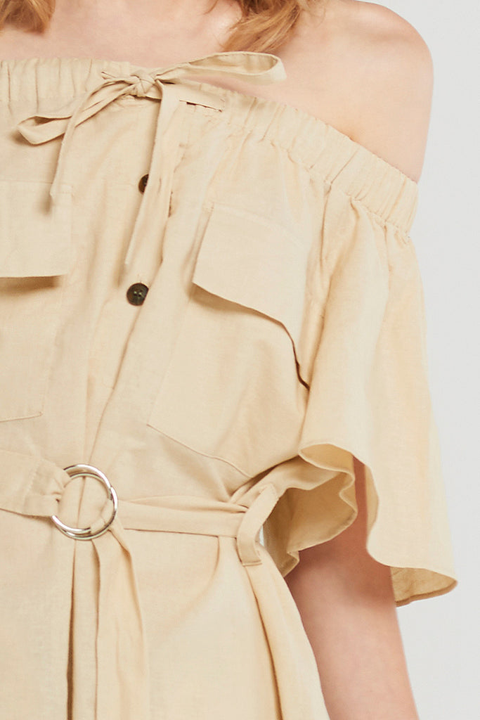 Oak Pocket Off Shoulder Romper-Beige