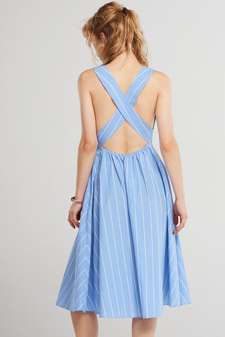 Stripe Square Neckline Strap Dress-Skyblue