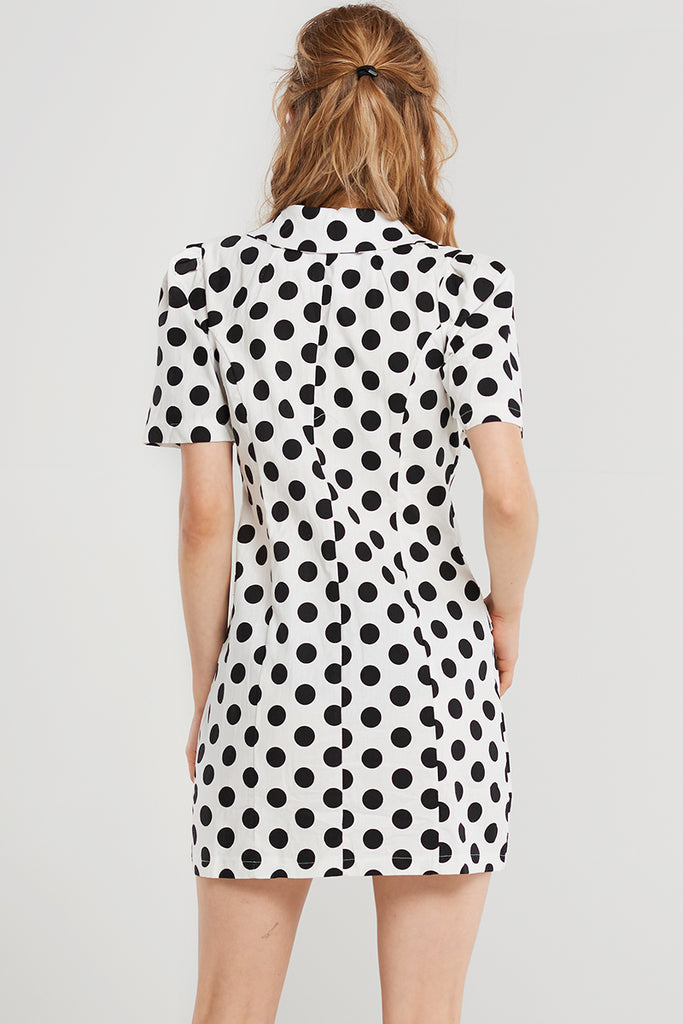 Diva Dot Jacket Dress-White
