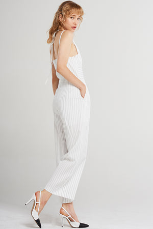Marlee Striped Strap Jumpsuit-White