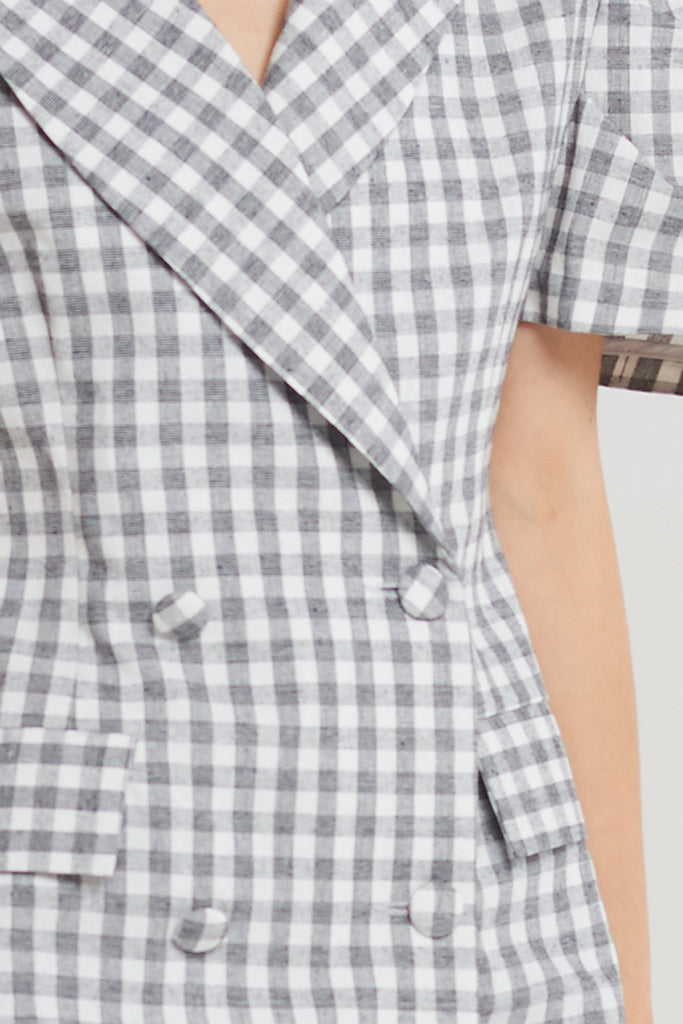 Lilith Gingham Short-sleeve Jacket-Gray