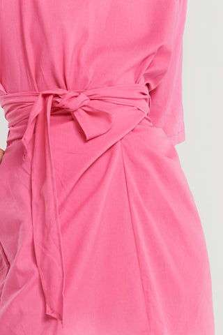 Willow Twisted Linen Simple Dress-Pink