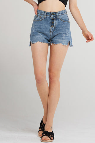 Skye Button Rough Denim Shorts-Blue