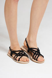 Thick Rope Tangled Sandals-Black