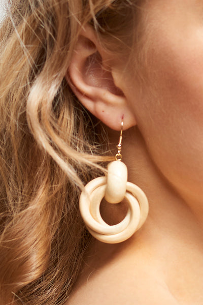 Overlapped Earrings-Beige