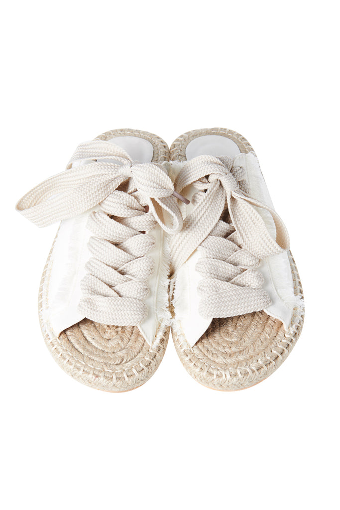 Sneaker Fibre Weaved Slippers-Ivory