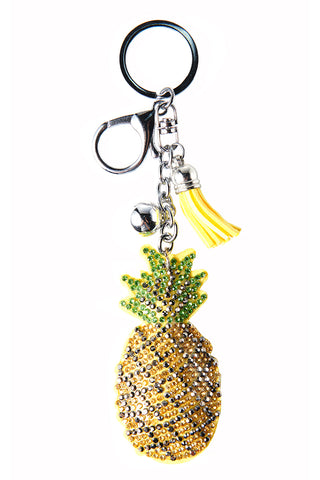 Pinapple Glitter Key Chain-Yellow