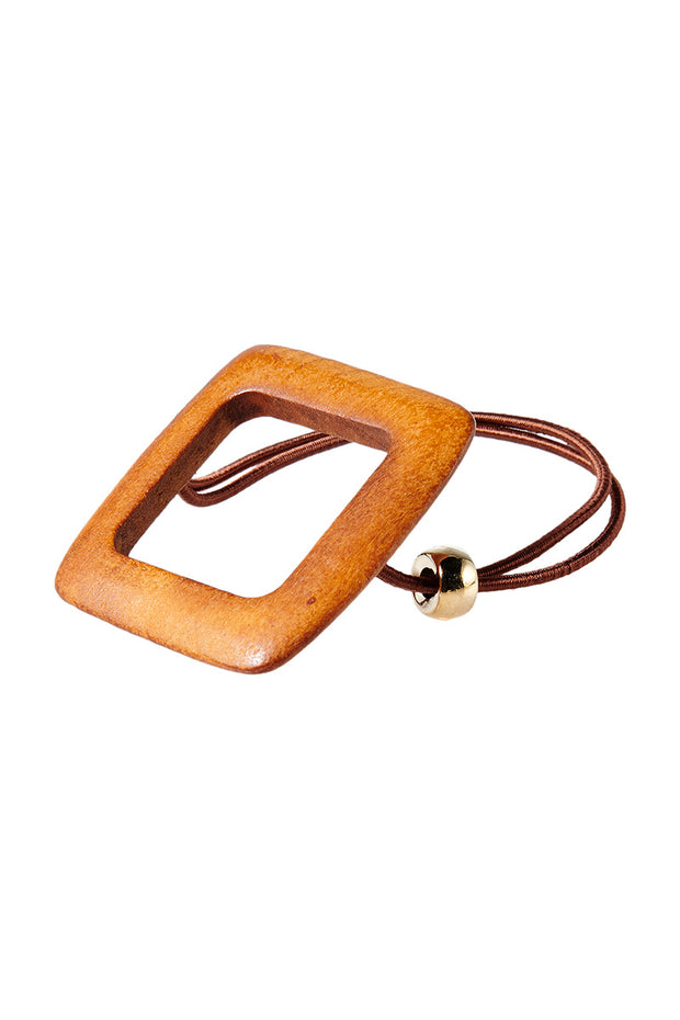 storets.com Sqaure Wood Hair Tie-Brown