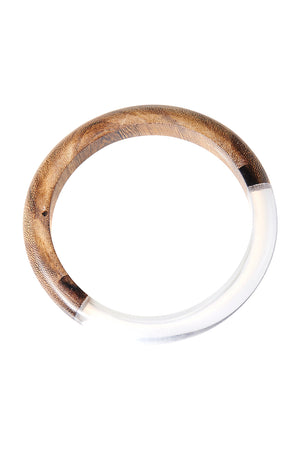Wood Mix Clear Bangle-Brown
