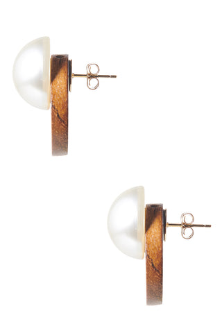 Pearl-on-wood Earrings-Brown
