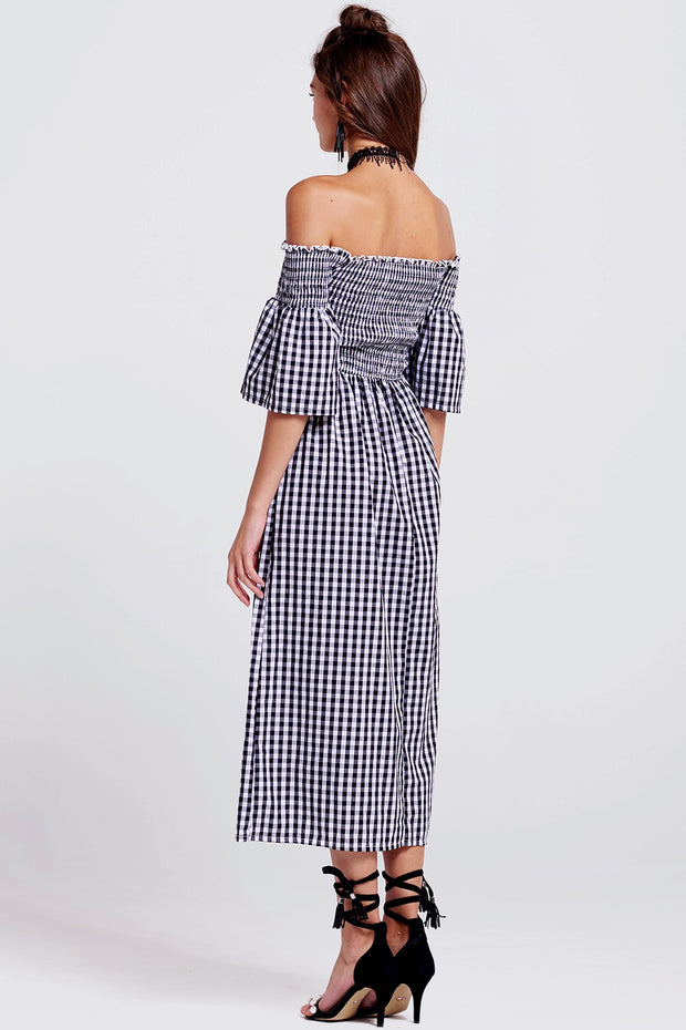 Christine Gingham Off-the-Shoulder Dress