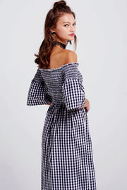 storets.com Christine Gingham Off-the-Shoulder Dress