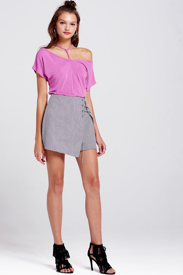 Stacy Check Eyelet Mini Skort