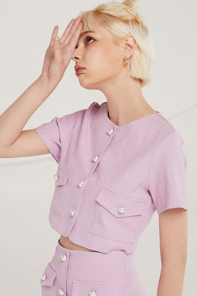 Norah Pearl Button Crop Jacket