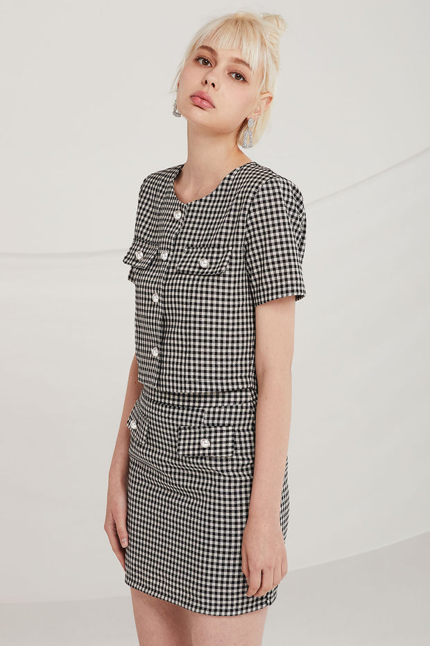 Patricia Gingham Cropped Suit Jacket