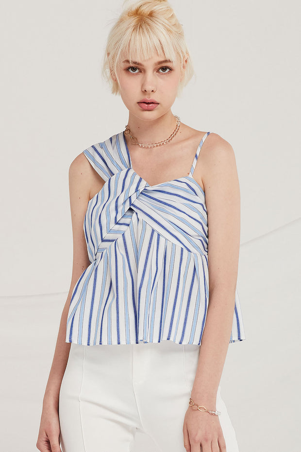Finley Striped Draped Bustier Top