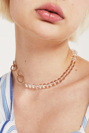 Clear Ball Choker Necklace w/Chain
