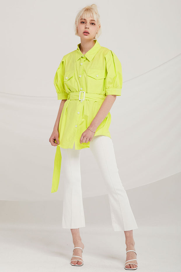 storets.com Ryleigh Puff Sleeve Shirt w/Belt