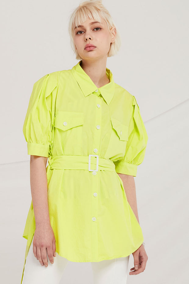 Ryleigh Puff Sleeve Shirt w/Belt
