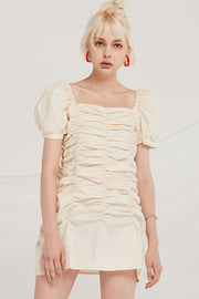 Clara Ruched Puff Sleeve Dress