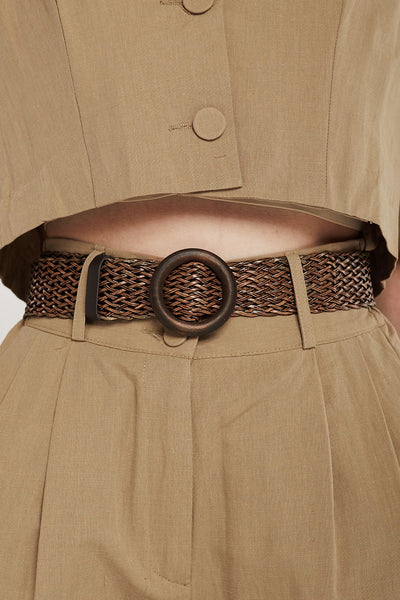 Straw Belt w/Round Buckle