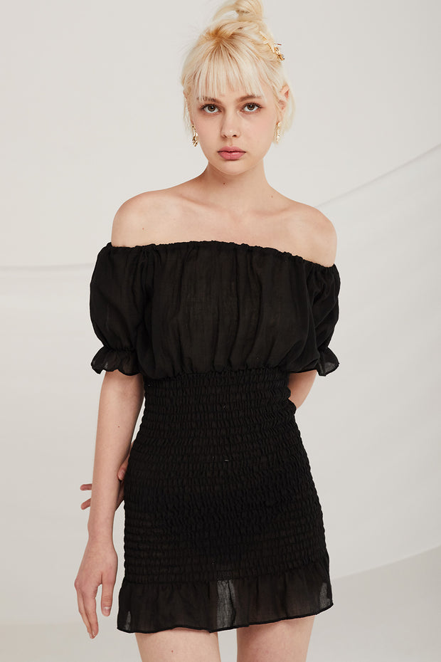 Ashley Off-the-Shoulder Smocked Dress