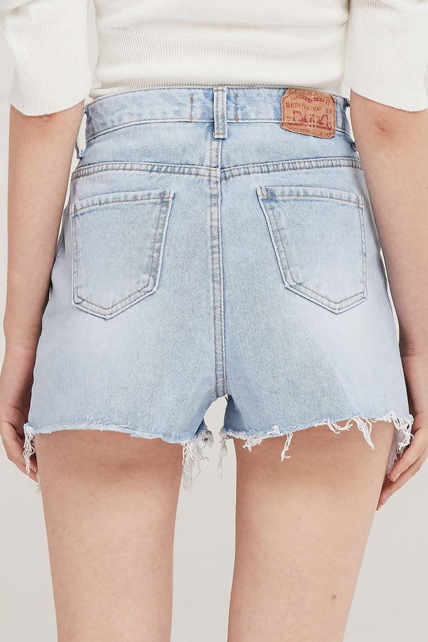 Aaron High-Rise Distressed Shorts