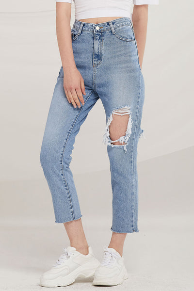 Madleyn Distressed Tapered Jeans