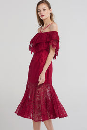 Marina Lace Open Shoulder Dress-Red