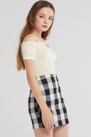 storets.com Joelle Bold Gingham Check Skirt-Black