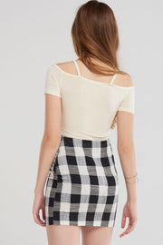 Joelle Bold Gingham Check Skirt-Black