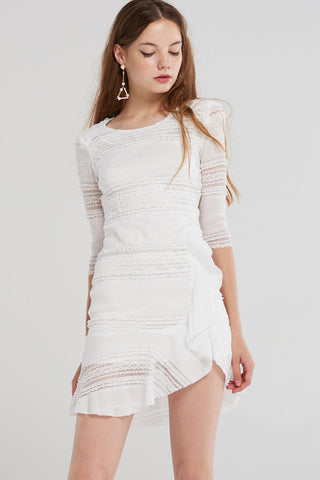 Anne Striped Crochet Picnic Dress-Ivory