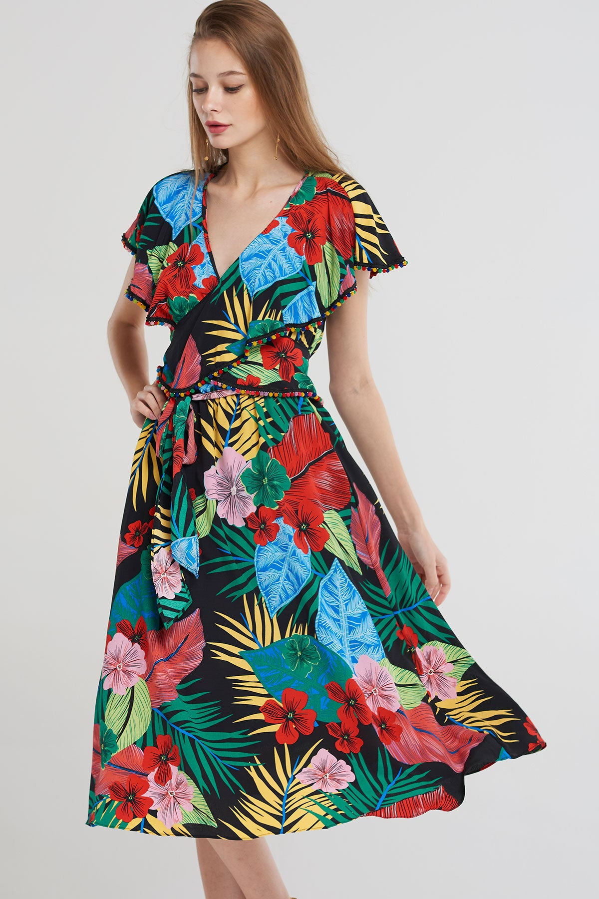 Emmie Colorful Palm Tree Dress-Black