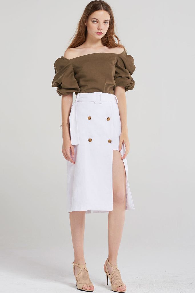 Joane Button Wrap Skirt-Ivory