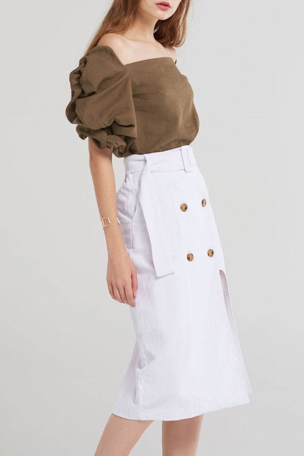 storets.com Joane Button Wrap Skirt-Ivory