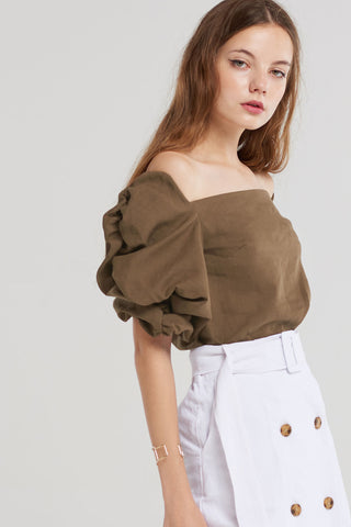 Gemma Shirred Sleeve Blouse-Brown