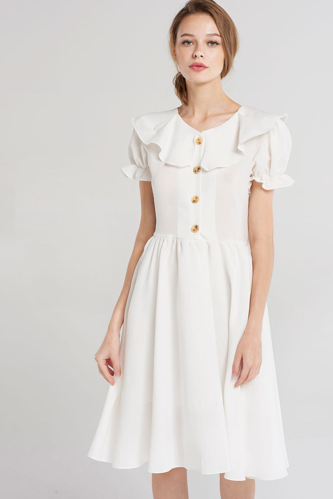 Carry Puff Button Dress-Ivory
