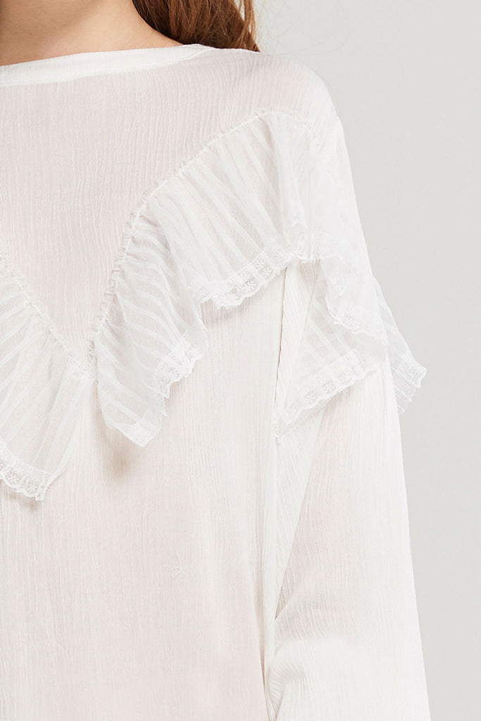 Adley Striped Mesh Detail Dress-Ivory