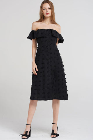 Rayna Open Collar Off Dress-Black