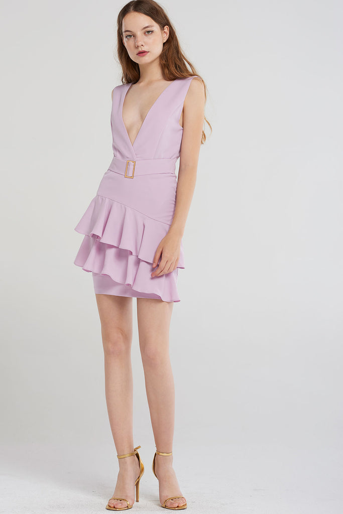 Wynter V Strap Tiered Skirt Dress-Purple